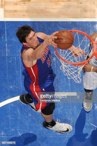 Boban Marjanovic of the Detroit Pistons dunks against the Orlando Magic on March 24 2017 at Amway Center in Orlando Florida NOTE TO USER User...