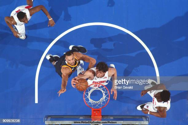 Boban Marjanovic of the Detroit Pistons dunks against the Utah Jazz on January 24 2018 at Little Caesars Arena in Detroit Michigan NOTE TO USER User...
