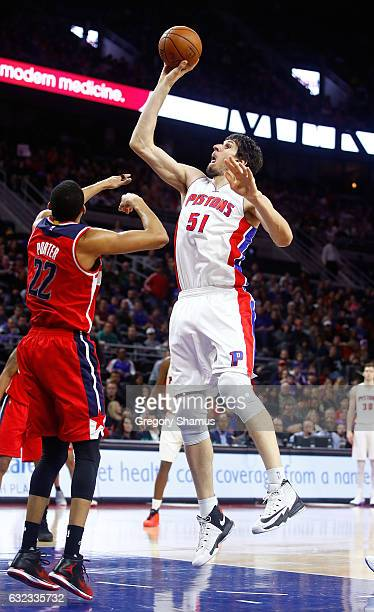 Boban Marjanovic of the Detroit Pistons gets a second half shot off over Otto Porter Jr #22 of the Washington Wizards at the Palace of Auburn Hills...