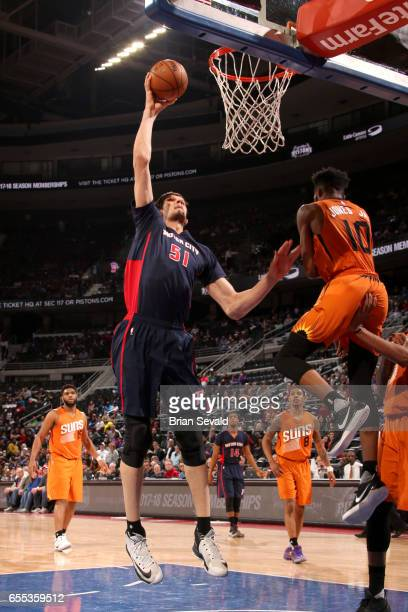 Boban Marjanovic of the Detroit Pistons goes to the basket against the Phoenix Suns on March 19 2017 at The Palace of Auburn Hills in Auburn Hills...