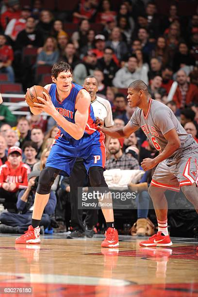 Boban Marjanovic of the Detroit Pistons handles the ball against the Chicago Bulls on December 19 2016 at the United Center in Chicago Illinois NOTE...