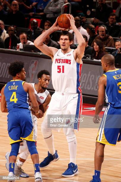 Boban Marjanovic of the Detroit Pistons handles the ball against the Golden State Warriors on December 8 2017 at Little Caesars Arena in Detroit...
