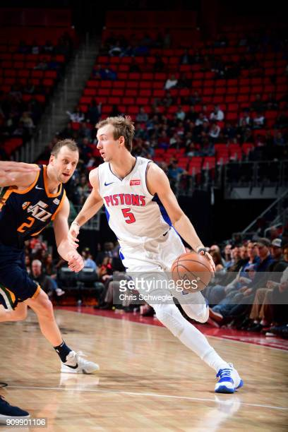 Boban Marjanovic of the Detroit Pistons handles the ball against the Utah Jazz on January 24 2018 at Little Caesars Arena in Detroit Michigan NOTE TO...