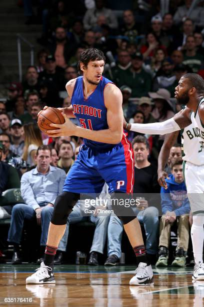 Boban Marjanovic of the Detroit Pistons handles the ball during the game against the Milwaukee Bucks on February 13 2017 at the BMO Harris Bradley...
