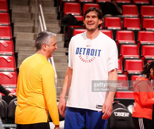 Boban Marjanovic of the Detroit Pistons is seen before the game against the Utah Jazz on January 24 2018 at Little Caesars Arena in Detroit Michigan...