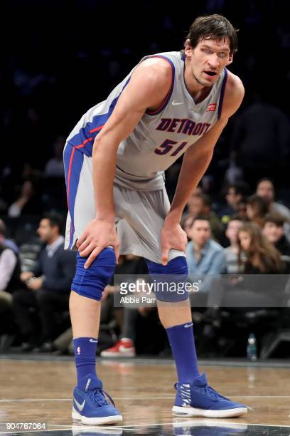 Boban Marjanovic of the Detroit Pistons look on against the Brooklyn Nets in the fourth quarter during their game at Barclays Center on January 10...