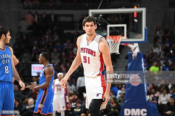 Boban Marjanovic of the Detroit Pistons looks on during the game against the Oklahoma City Thunder on November 14 2016 at The Palace of Auburn Hills...