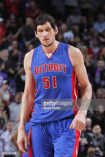 Boban Marjanovic of the Detroit Pistons looks on during the game against the Sacramento Kings on January 10 2017 at Golden 1 Center in Sacramento...