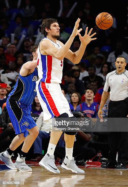 Boban Marjanovic of the Detroit Pistons plays against the Orlando Magic at the Palace of Auburn Hills on October 28 2016 in Auburn Hills Michigan...