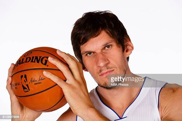 Boban Marjanovic of the Detroit Pistons poses for a photo during the 20162017 Detroit Pistons media day on September 26 2016 in Auburn Hills MI NOTE...
