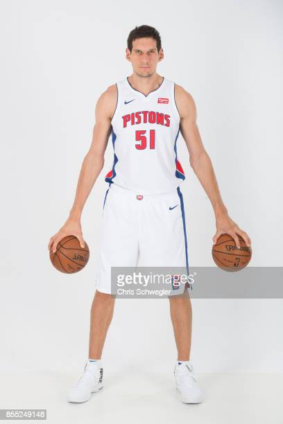 Boban Marjanovic of the Detroit Pistons poses for a portrait during Media Day on September 25 2017 at the Little Caesars Arena Detroit MI NOTE TO...