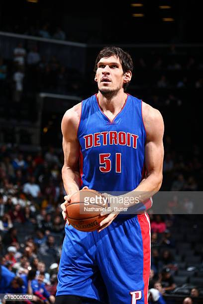 Boban Marjanovic of the Detroit Pistons prepares to shoot a free throw against the Brooklyn Nets on October 6 2016 at Barclays Center in the Brooklyn...