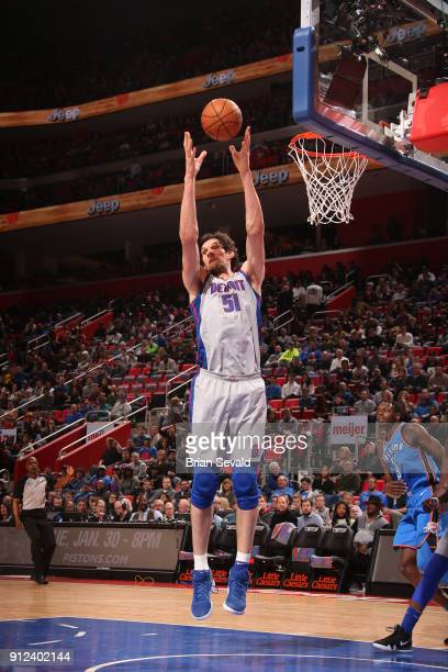 Boban Marjanovic of the Detroit Pistons rebounds the ball during the game against the Oklahoma City Thunder on January 27 2018 at Little Caesars...