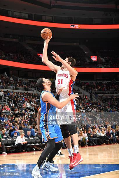 Boban Marjanovic of the Detroit Pistons shoots the ball against the Oklahoma City Thunder on November 14 2016 at The Palace of Auburn Hills in Auburn...