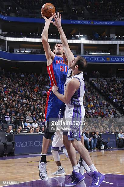 Boban Marjanovic of the Detroit Pistons shoots the ball against the Sacramento Kings on January 10 2017 at Golden 1 Center in Sacramento California...
