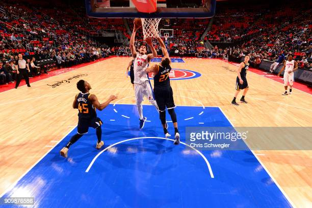 Boban Marjanovic of the Detroit Pistons shoots the ball against the Utah Jazz on January 24 2018 at Little Caesars Arena in Detroit Michigan NOTE TO...