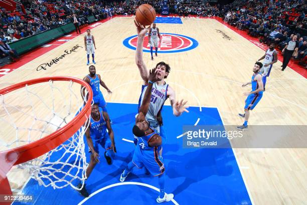 Boban Marjanovic of the Detroit Pistons shoots the ball during the game against the Oklahoma City Thunder on January 27 2018 at Little Caesars Arena...