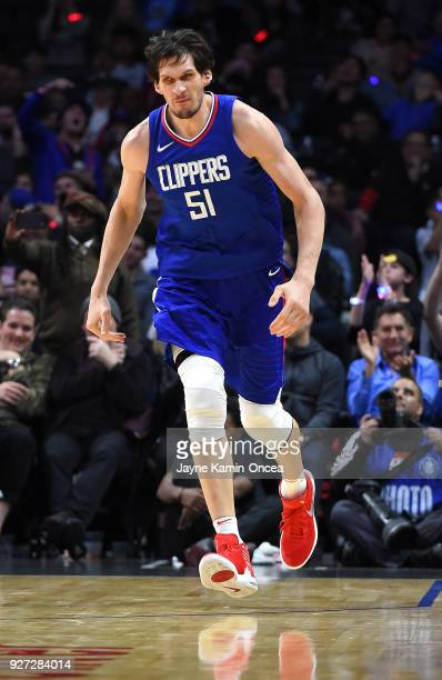 Boban Marjanovic of the Los Angeles Clippers during the second half of the game against the New York Knicks at Staples Center on March 2 2018 in Los...