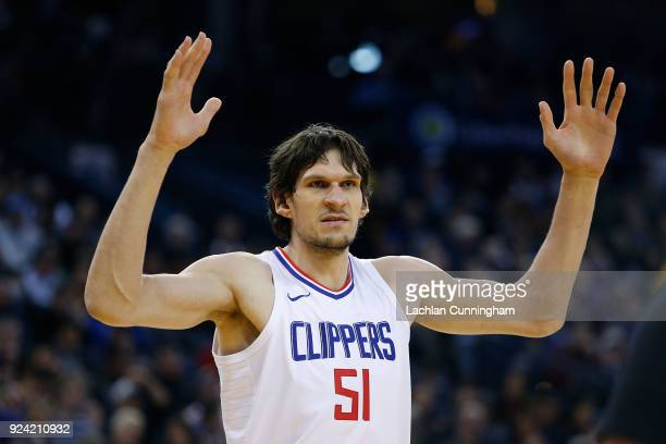 Boban Marjanovic of the Los Angeles Clippers looks on during the game against the Golden State Warriors at ORACLE Arena on February 22 2018 in...
