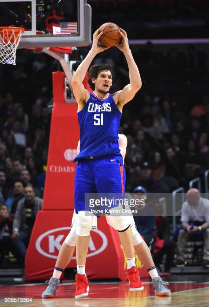 Boban Marjanovic of the Los Angeles Clippers looks to pass the ball in the second half of the game against the New York Knicks at Staples Center on...