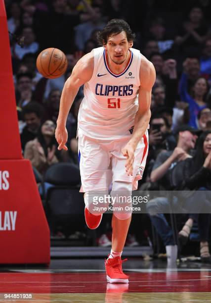 Boban Marjanovic of the Los Angeles Clippers on the court during the game against the New Orleans Pelicans at Staples Center on April 9 2018 in Los...