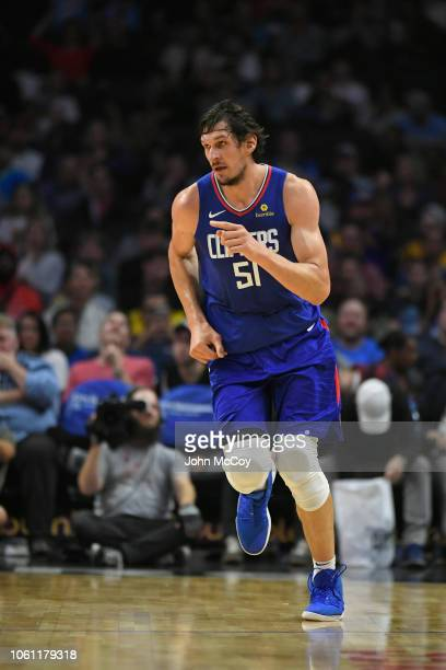 Boban Marjanovic of the Los Angeles Clippers runs up court against the Washington Wizards at Staples Center on October 28 2018 in Los Angeles...