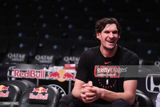 Boban Marjanovic of the Los Angeles Clippers warms up before the game against the Brooklyn Nets at Barclays Center on November 17 2018 in the...