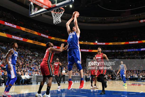 Boban Marjanovic of the Philadelphia 76ers dunks the ball against the Miami Heat on February 21 2019 at the Wells Fargo Center in Philadelphia...
