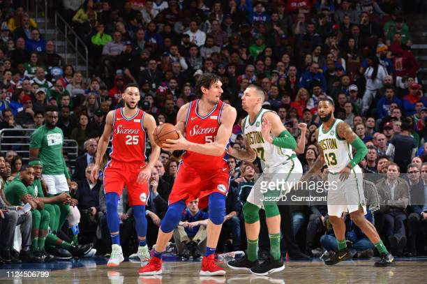 Boban Marjanovic of the Philadelphia 76ers handles the ball against the Boston Celtics on February 12 2019 at the Wells Fargo Center in Philadelphia...