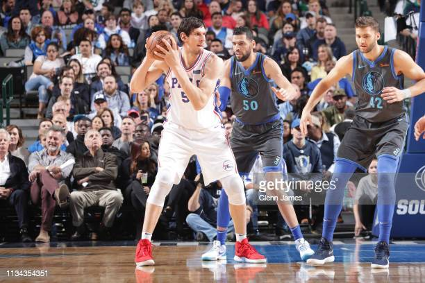 Boban Marjanovic of the Philadelphia 76ers handles the ball against the Dallas Mavericks on April 1 2019 at the American Airlines Center in Dallas...