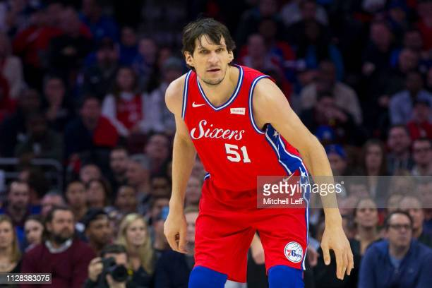 Boban Marjanovic of the Philadelphia 76ers in action against the Denver Nuggets at the Wells Fargo Center on February 8 2019 in Philadelphia...