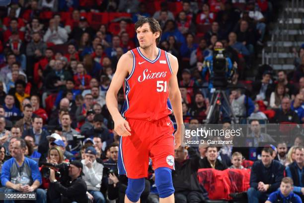 Boban Marjanovic of the Philadelphia 76ers looks on during the game against the Denver Nuggets on February 8 2019 at the Wells Fargo Center in...