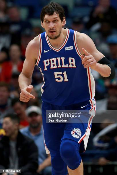 Boban Marjanovic of the Philadelphia 76ers reacts to a play during the first half of a game against the New Orleans Pelicans at the Smoothie King...