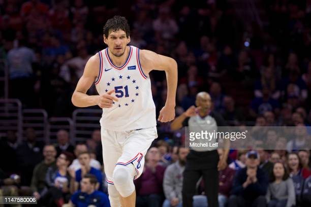 Boban Marjanovic of the Philadelphia 76ers runs up the court against the Portland Trail Blazers at the Wells Fargo Center on February 23 2019 in...