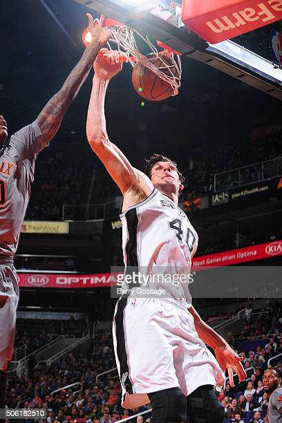 Boban Marjanovic of the San Antonio Spurs dunks against the Phoenix Suns on January 21 at Talking Stick Resort Arena in Phoenix Arizona NOTE TO USER...