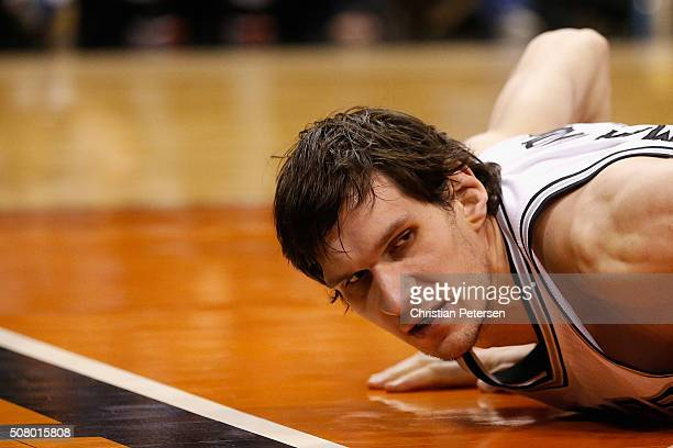 Boban Marjanovic of the San Antonio Spurs during the NBA game against the Phoenix Suns at Talking Stick Resort Arena on January 21 2016 in Phoenix...