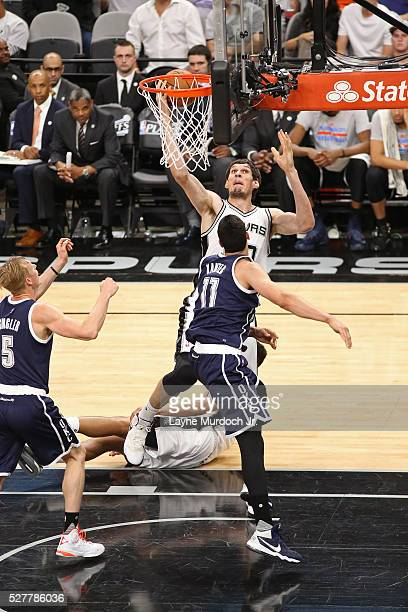 Boban Marjanovic of the San Antonio Spurs goes to the basket against the Oklahoma City Thunder in Game One of the Western Conference Semifinals...
