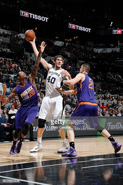 Boban Marjanovic of the San Antonio Spurs handles the ball during the game against the Phoenix Suns on December 30 2015 at the ATT Center in San...