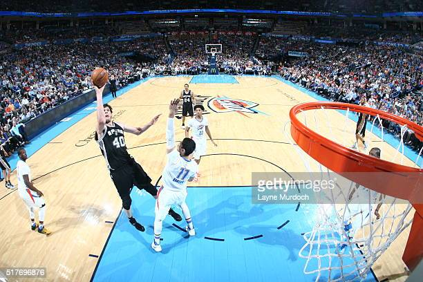 Boban Marjanovic of the San Antonio Spurs shoots against the Oklahoma City Thunder during the game on March 26 2016 at Chesapeake Energy Arena in...