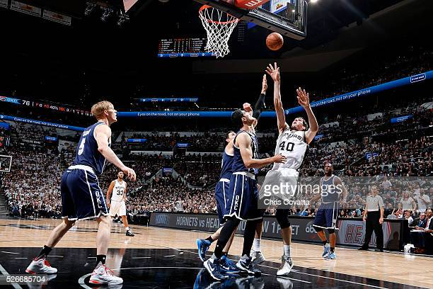 Boban Marjanovic of the San Antonio Spurs shoots the ball during the game against the Oklahoma City Thunder in Game One of the Western Conference...