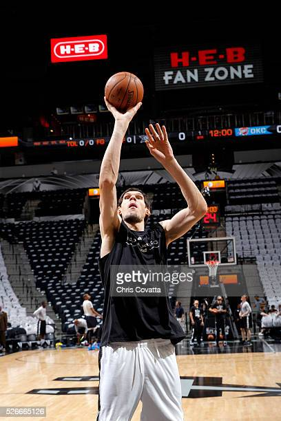 Boban Marjanovic of the San Antonio Spurs warms up before the game against the Oklahoma City Thunder in Game One of the Western Conference Semifinals...