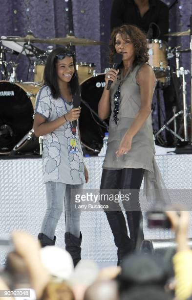 Bobbi Kristina Brown and Whitney Houston perform on ABC's 'Good Morning America' on September 1 2009 in New York City