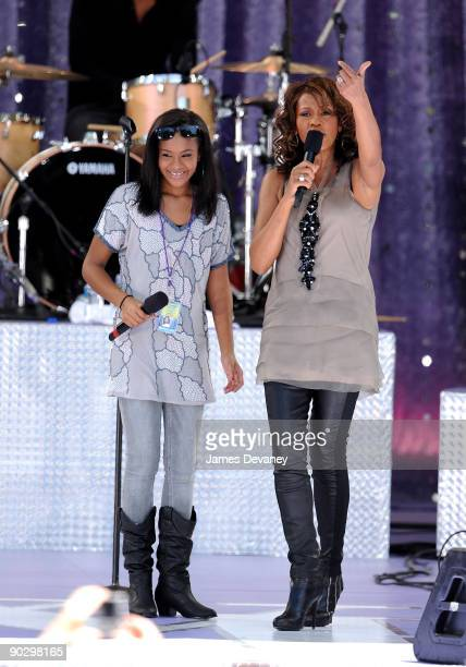 Bobbi Kristina Brown and Whitney Houston perform on ABC's 'Good Morning America' at Rumsey Playfield Central Park on September 1 2009 in New York City