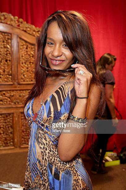 Bobbi Kristina Brown wearing Bobbi Brown Eyewear with the Solstice Sunglasses and Safilo USA display at the GRAMMY Gift Lounge during the 56th GRAMMY...