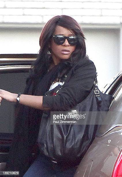 Bobbi Kristina Houston Brown arrives at Whigham Funeral Home for a private viewing for her mother Whitney Houston on February 17 2012 in Newark New...