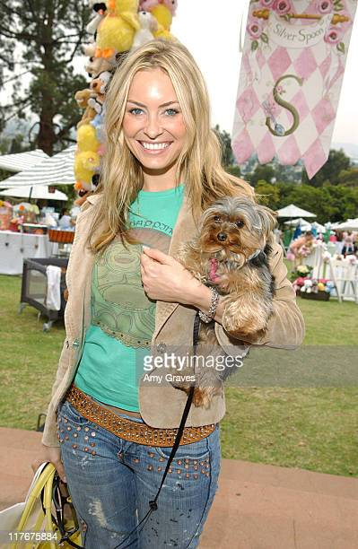 Bobbi Sue Luther and Goblin during Silver Spoon Dog and Baby Buffet Day 1 at Private residence in Hollywood California United States Photo by Amy...