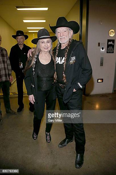 Bobbie Nelson and Willie Nelson pose backstage before their New Years Eve concert at ACL Live on December 31 2016 in Austin Texas