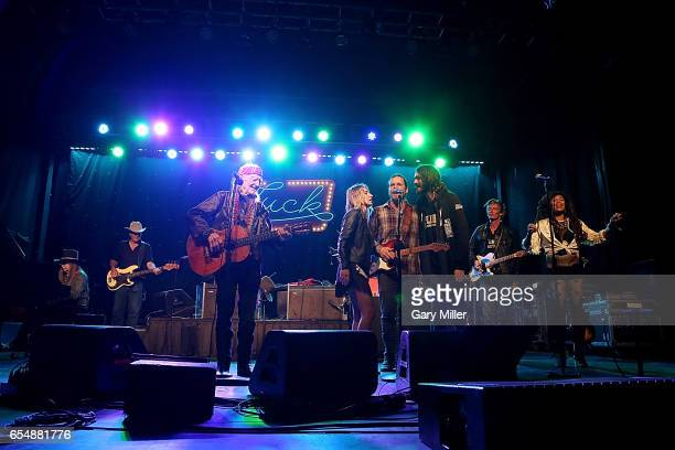 Bobbie Nelson Kevin Smith Willie Nelson Lily Meola Lukas Nelson Mikah Nelson Charlie Sexton and Valerie June perform in concert during the Luck...