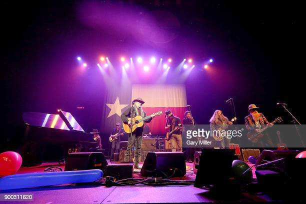Bobbie Nelson Kevin Smith Willie Nelson Lukas Nelson Mickey Raphael Jamey Johnson and Billy Gibbons perform in concert at ACL Live on December 31...