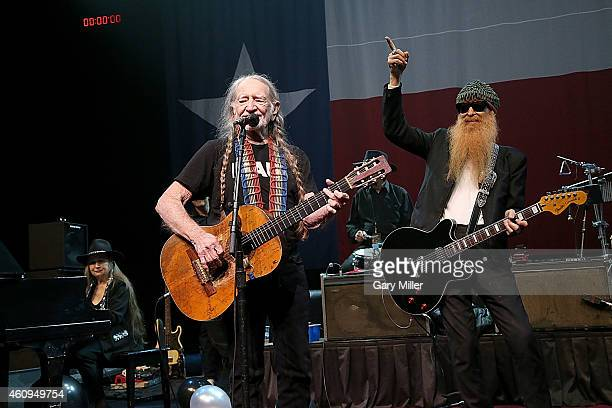 Bobbie Nelson Willie Nelson and Billy Gibbons perform in concert on New Years Eve at ACL Live on December 31 2014 in Austin Texas
